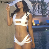 www.Petalsfashionz.com Quick shipping low prices women's swimsuit & poolside attire Triangle Bikini Brazilian Strappy Swimwear Women High Waist White