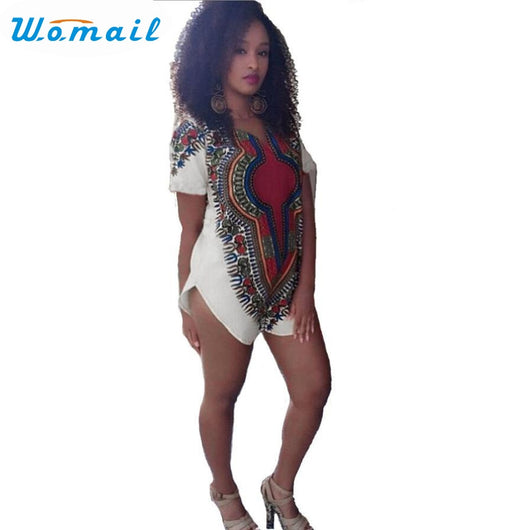 www.Petalsfashionz.com Quick shipping low prices women's Traditional Attire Tribal African Dashiki Printed Party Mini Dress