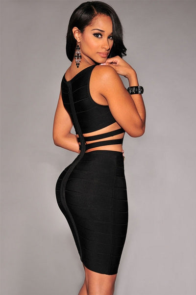 www.Petalsfashionz.com Quick shipping low prices women's Club Dresses newest sexy  black celebrity bandage dress with two straps on side & back hollow out  dress Dress + suit