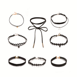 www.Petalsfashionz.com Quick shipping low prices $20 Or Less Women's Apparel And Accessories New 8pcs/set Gothic Black Velvet Tattoo Lace Choker Necklace Fashion Multi-Layer Charm Women Chokers Necklaces Punk Jewelry