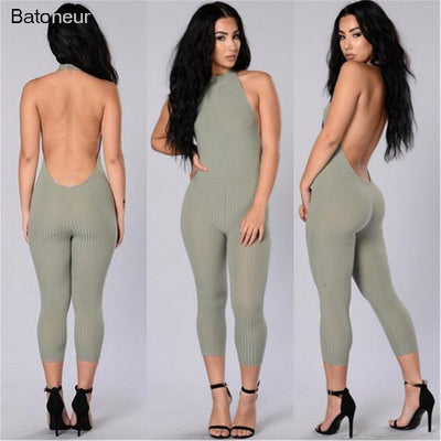 www.Petalsfashionz.com Quick shipping low prices women's rompers & jumpsuits Sexy Halter Cotton Knitted Summer Bodysuit Sexy Stretch Backless Overalls Club One Piece Rompers S-XL