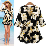 www.Petalsfashionz.com Quick shipping low prices women's rompers & jumpsuits Plus Size Rompers Floral Print Summer Jumpsuit Women Beach Jumpsuits