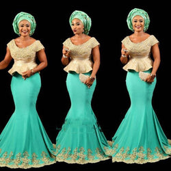 www.Petalsfashionz.com Quick shipping low prices women's Traditional Attire African Turquoise Gold Mermaid Long Evening Dresses Plus Size Peplum Appliques Ankara kitenge Women Long Formal Gowns