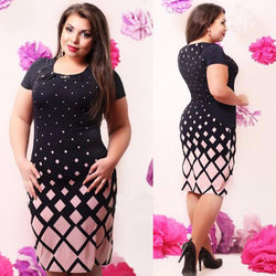 www.Petalsfashionz.com Quick shipping low prices women's plus size apparel Summer Women office Dress Large Size 5XL 6XL Plus Size Women Clothes Plaid bodycon Dress Plus Size