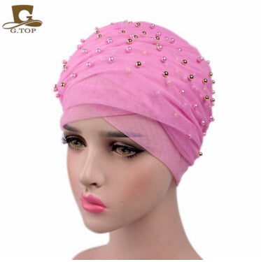 www.Petalsfashionz.com Quick shipping low prices women's Scarves And HatsLuxury women gold beaded mesh Turban Headband  extra Long mesh Turban Head Wraps Hijab Head Scarf Turbante