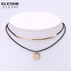 www.Petalsfashionz.com Quick shipping low prices $20 Or Less Women's Apparel And Accessories New ELESHE Boho Choker Gold Coins Pendant Shell Choker Necklace