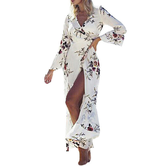 Vintage Women 2017 Summer V neck Floral Print Open Cardigan Sexy Female Long Sleeve Party Beach Holiday Maxi Long Dress Vestido