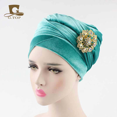 www.Petalsfashionz.com Quick shipping low prices women's Scarves And Hats  luxury hijab velvet Turban Head Wrap Extra Long  velour tube Headwrap Scarf Tie with jewelry  brooch