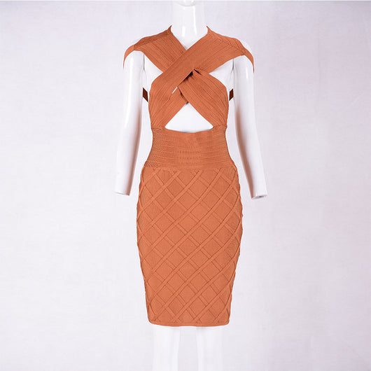 New Summer Women Bandage Dress Orange Sleeveless V-Neck Hollow Out Elegant Lady Evening Party Bodycon Dresses Wholesale