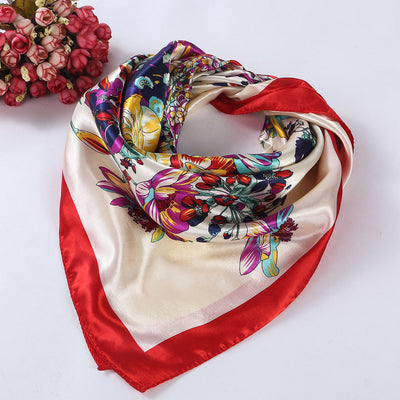 www.Petalsfashionz.com Quick shipping low prices women's Scarves Floral Printed Women Lady Square Scarf Head Wrap Kerchief Neck Satin Shawl  Scarf Women Winter Red
