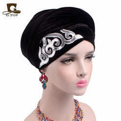 www.Petalsfashionz.com Quick shipping low prices women's Scarves And Hats gorgeous Embellished sequined Velvet Turban Long Head Wraps women luxury Hijab headscarf turbante