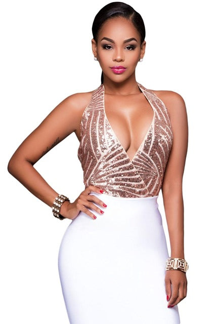 www.Petalsfashionz.com Quick shipping low prices women's rompers & jumpsuits Champagne Sequins Halter Bodysuit Women Sexy Club Rompers