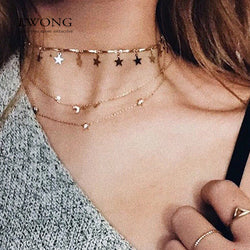 www.Petalsfashionz.com Quick shipping low prices $20 Or Less Women's Apparel And Accessories New Dainty Gold Color Chain Tiny Star Choker Necklace for Women Bijou Necklaces Pendants Simple Boho Layering Chokers Chockers