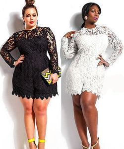 www.Petalsfashionz.com Quick shipping low prices women's rompers & jumpsuits White / Black New Women Sexy Lace Clubwear Bodycon Party Playsuit Romper dress Plus Size