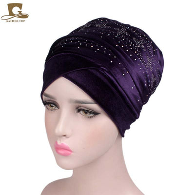 www.Petalsfashionz.com Quick shipping low prices women's Scarves And Hats Diamante Studded Nigerian Velvet Extra Long Turban Head Wrap Head Scarf Head Wrap Women Hijab Ladies Bandanas Turbante