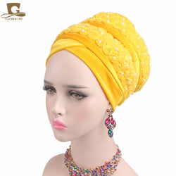 www.Petalsfashionz.com Quick shipping low prices women's Scarves And Hats women Velvet turban 3D beaded flower Extra Long Head Wraps Hijab Head Scarf headscarf