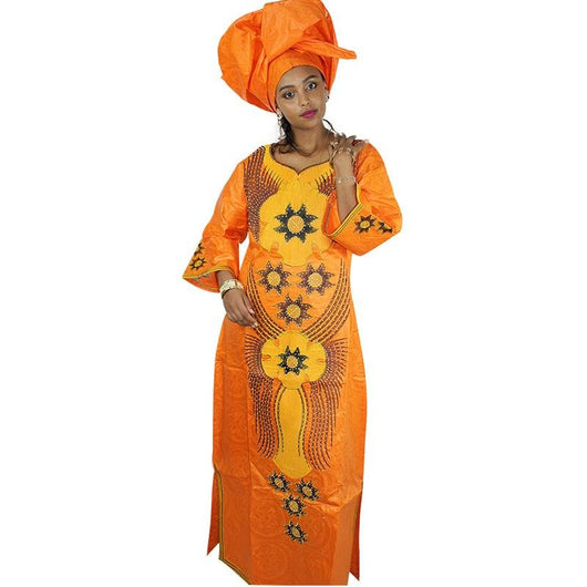 www.Petalsfashionz.com Quick shipping low prices women's Traditional Attire African dresses for women fashion design new African Bazin embroidery design dress long dress with scarf African clothes