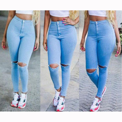 www.Petalsfashionz.com Quick shipping low prices women's Sexy Jean's & Short's  Sexy Ripped Jeans For Women High Waist Slim Blue Boyfriend Jeans Leisure Hole Skinny Pencil Pants Summer Denim Pants