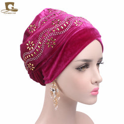 New women elegant Embellished flower nigerian velvet turban Extra Long headcarf Head Wraps hijab cap