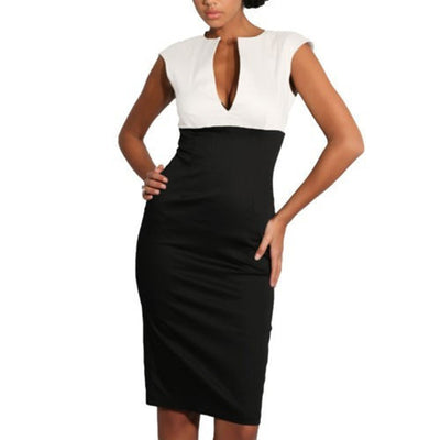 www.Petalsfashionz.com Quick shipping low prices women's business attire  Elegant V-neck Sleeveless Work Office Sheath Patchwork  Pencil Party Cocktail Body Women Dress Black/White