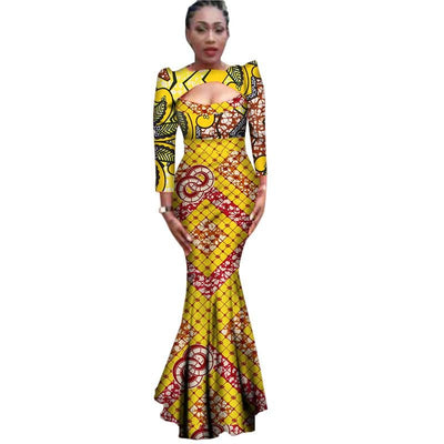 www.Petalsfashionz.com Quick shipping low prices women's Traditional Attire Autumn African Dresses For Women Bazin Sexy Cotton Africa Clothes Dashiki Plus Size Traditional African Clothing