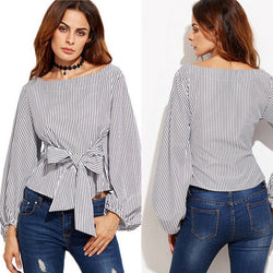 www.Petalsfashionz.com Quick shipping low prices women's Blouses & Unique Classy Stylus Apparel  Off Shoulder Blouse Long Sleeve Striped Shirt With Bow Tie Women Fashion Shirt