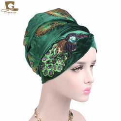 www.Petalsfashionz.com Quick shipping low prices women's Scarves And Hats Women elegant sequined peacock embroidery Long Velvet Turban Nigerian Turban Head Wraps Hijab Head Scarf Turbante