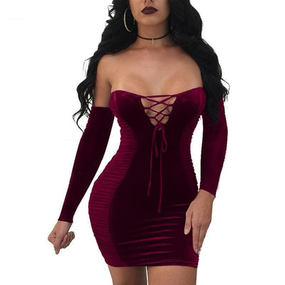 www.Petalsfashionz.com Quick shipping low prices women's Club Dresses Sexy Strapless Velvet Bodycon Women Mini Dress Slim Off Shoulder Long Sleeve Lace Up Bandage Vestidos Club Short Dress
