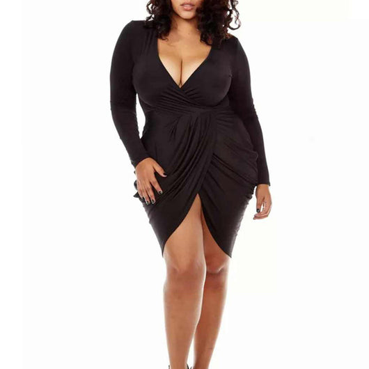 www.Petalsfashionz.com Quick shipping low prices women's club dresses  Plus Size White Long Sleeve Women Summer Dress  Sexy Deep V Party Dresses Stretchy Bodycon Bandage Dress Club Wear Vestidos