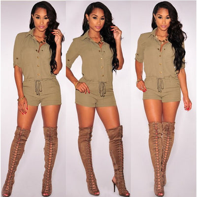 www.Petalsfashionz.com Quick shipping low prices women's rompers & jumpsuits Summer Style Turn Down Collar Sexy One Piece Rompers Shorts Macacao Feminino Button Jumpsuit Pinup Casual Mono Mujer Romper