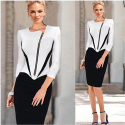 www.Petalsfashionz.com Quick shipping low prices women's business attire Black White Patchwork Zipper Front Ladies Dresses Women Career Dresses Elegant Business Work Wear Plus Size S M L XL XXL