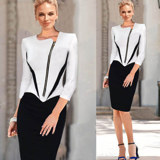 New Black White Patchwork Zipper Front Ladies Dresses Women Career Dresses  Elegant Business Work Wear Plus Size S M L XL XXL