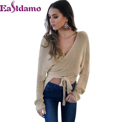 www.Petalsfashionz.com Quick shipping low prices women's Blouses & Unique Classy Stylus Apparel Sexy V Neck Knitted Sweater Women Autumn Winter Casual Sweater Long Sleeve Solid Sweater Jumper Pullovers Tops