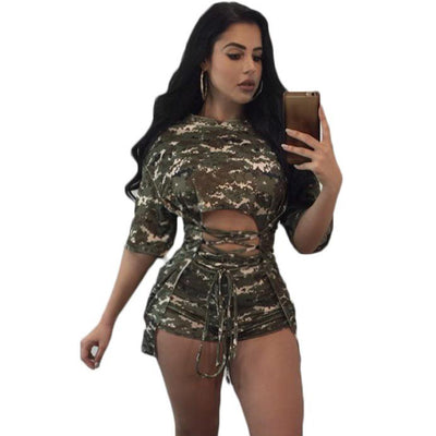 www.Petalsfashionz.com Quick shipping low prices women's rompers & jumpsuits Green Camouflage Print Two Piece