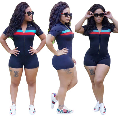 www.Petalsfashionz.com Quick shipping low prices women's rompers & jumpsuits Short Sleeve Women Sexy Bodycon Short  Zippers Jumpsuit Summer Playsuits Sexy Solid Elegant Night Party Rompers