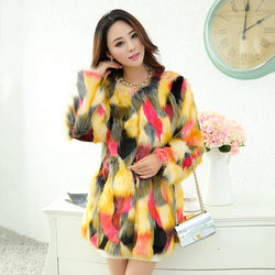 www.Petalsfashionz.com Quick shipping low prices women's Jacket's And Coat's autumn and winter long section high imitation fur colorful fox fur long sleeve coat color imitation mink coat Multi-Color Yellow/Red