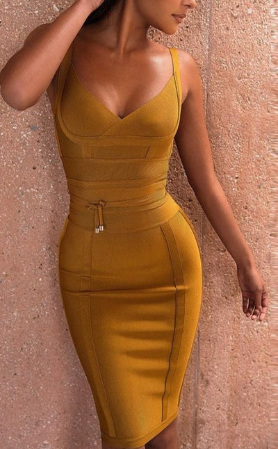 www.Petalsfashionz.com Quick shipping low prices women's Club Dresses Bandage Dress New Arrivals Summer Yellow Bodycon Dress V Neck Spaghetti Strap Autumn Bandage Dress Party Women