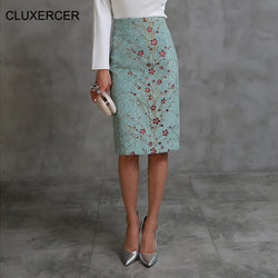 www.Petalsfashionz.com Quick shipping low prices women's Business attire Autumn Winter Women Skirt Light Green Sexy Floral Print High Waist Pencil Skirt Slim Bodycon Elastic Skirts Women's
