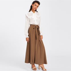 www.Petalsfashionz.com Quick shipping low prices women's Sexy Jean's & Classic Pants Loose Wide Leg Pants Elegant Coffee Mid Waist Self Belted Bow Skirt Palazzo Pants Women Plain Long Trousers