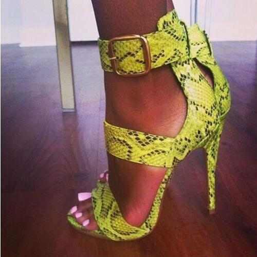 74af7772621 New Python Print Sexy Women High Heels Stiletto Open Toe Women Pumps Summer  Ladies Party Shoes Woman