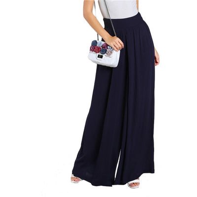 www.Petalsfashionz.com Quick shipping low prices women's Sexy Jean's & Classic Pants Loose High Rise Super Wide Leg Pants Navy High Waist Zipper Fly Plain Long Pants Women Vacation Trousers