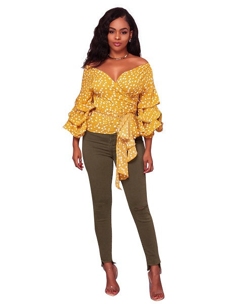 www.Petalsfashionz.com Quick shipping low prices women's Blouses & Unique Classy Stylus Apparel Bow Bandage Slim Shirts Tops Lantern Sleeve Deep V Neck Blouse Tunic Blusas Sexy Yellow Polka Dot Blouses