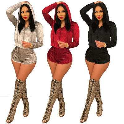 www.Petalsfashionz.com Quick shipping low prices women's plus size Rompers & Jumpsuits apparel Sexy sweatsuit 2 piece set Velour tracksuit fall winter velvet long sleeve zipper hooded top and shorts suits