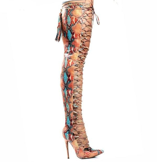 www.Petalsfashionz.com Quick shipping low prices women's Heel & Boots Shoes Pointed Toe Cross-tied Woman Long Boots Summer Colorful Snakeskin Over-the-knee Sandal Boots Lace Up Female Motorcycle Booties