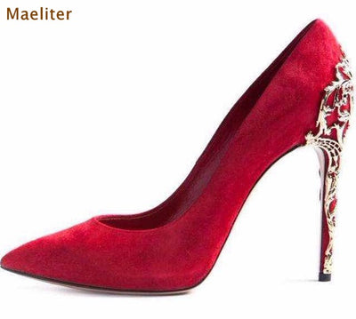 www.Petalsfashionz.com Quick shipping low prices women's Heel & Boots Shoes Apparel  Red Black Suede Pointed Toe Pumps Gold Cut-outs Metal Heels Dress Shoes Thin High Heel Metal Decorated Wedding Shoes