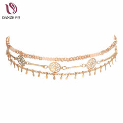 www.Petalsfashionz.com Quick shipping low prices $20 Or Less Women's Apparel And Accessories Manual Metal Disc Slim Chain Choker Necklaces 3 pcs set Steampunk Handmade Collar Chokers For Women Jewelry