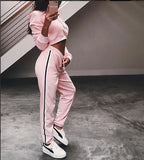 www.Petalsfashionz.com Quick shipping low prices women's rompers & jumpsuits  2 piece set Crop Top loose Jumpsuits romper Long Sleeve hoodies Suit Playsuit Sexy Lace-up Tracksuit Outfits