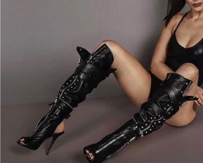 www.Petalsfashionz.com Quick shipping low prices women's Heel & Boots Shoes Apparel Black Leather Women High Heel Motorcycle Boots Sexy Peep Toe Ladies Buckles Knee High Boots Slingback Zipper Connect Boots