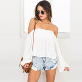 www.Petalsfashionz.com Quick shipping low prices women's Blouses & Unique Classy Stylus Apparel Off Shoulder Blouse Shirt Summer Tops Casual Stretch Long Sleeve Shirts Front Tie Female Blouses