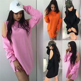 www.Petalsfashionz.com Quick shipping low prices women's Blouses & Unique Classy Stylus Apparel Sexy Hooded Sweatshirts Female Solid Color Casual Loose Cold Shoulder Long Pullover Top Club Wear
